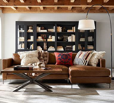 pottery barn trade jake leather sofa with chaise sectional pottery barn