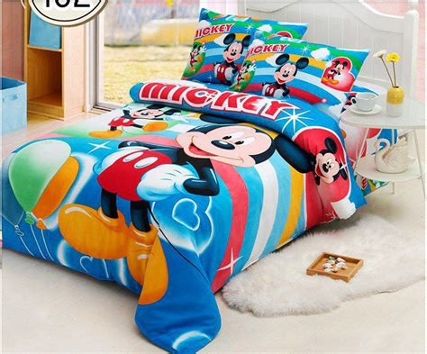blue 3pc mickey mouse cartoon twin size bed duvet cover