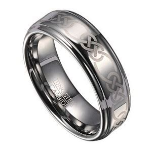 mm celtic knot mens tungsten wedding band  polished