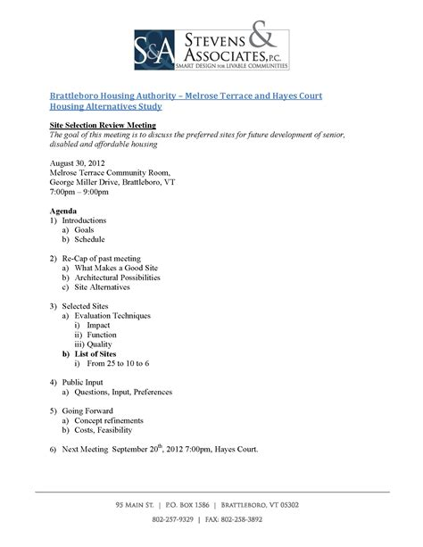 public community meeting  preferred sites agenda