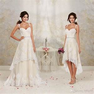 2016 short high low wedding dresses with detachable skirt With high low vintage wedding dresses