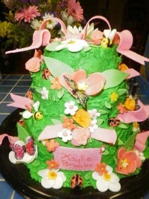 flower garden baby shower cakes butterflies  ladybugs