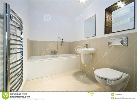 modern bathroom  beige tiled walls stock images