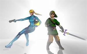 Zero Suit Samus and Link by Ceroja on DeviantArt