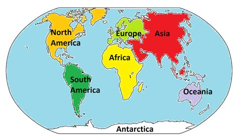 Image result for world map 7 continents and 5 oceans for children