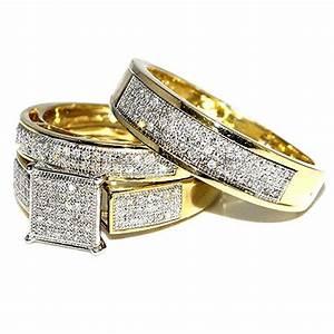 His her wedding rings set trio men women 10k yellow gold 0 for Yellow gold wedding rings sets for his and her