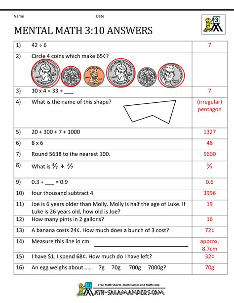 maths worksheets for grade 3 with answers mental math 3rd grade