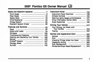 2007 Pontiac G5 Gt Owners Manual