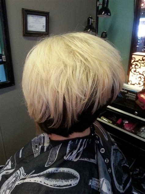 blonde reverse ombre  black hair color short stacked