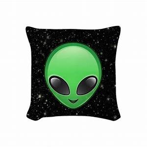 alien emojis Woven Throw Pillow (32 CAD) liked on Polyvore