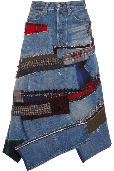 lyst junya watanabe patchwork denim midi skirt  blue