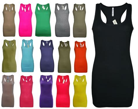 Womens B.c Long Vest Dress Tank Top Ribbed Lycra Stretch