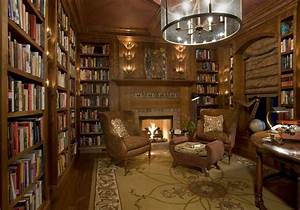 luxury home library design with wonderful chandelier and