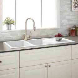 46 quot tansi double bowl drop in sink with drain board white kitchen