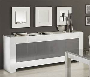 Buffet Gris Laqué : meuble buffet bahut blanc et gris 3 ou 4 portes frizz 2 ~ Teatrodelosmanantiales.com Idées de Décoration