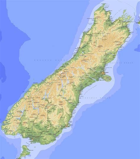 South Island Map South Island New Zealand Mappery