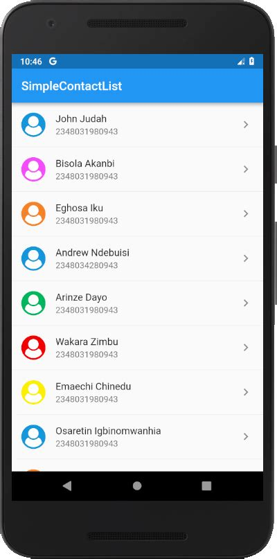 Simple Contact List with ListTile   by Osarugue Enehizena ...