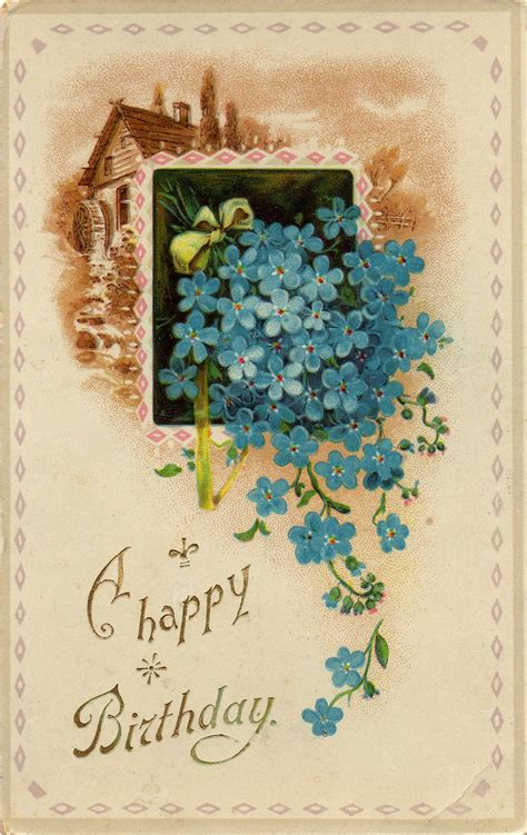 leaping frog designs  happy birthday vintage post card