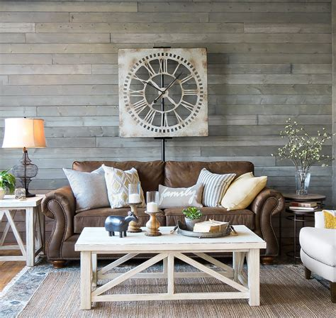 farmhouse living room furniture decorating with brown leather furniture tips for a