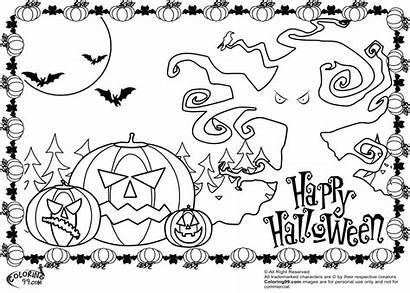 Halloween Coloring Scary Pumpkin Pages Happy Printable