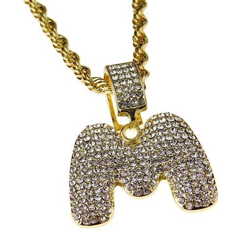 bling cartel bubble letter  block initial  rope hip hop chain bling pendant gold finish