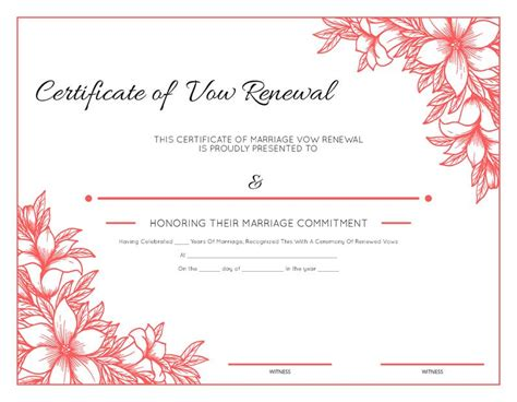 Vow Renewal Certificate Template by Free Printable Floral Certificate Of Vow Renewal