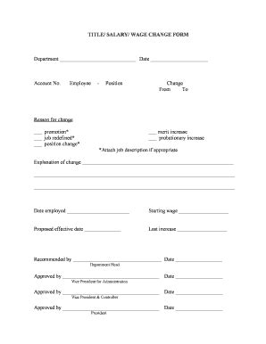 salary change form fill printable fillable