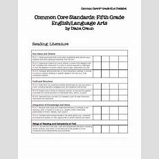 Common Core Standards Ela Fifth Grade Checklist By Tisdale's Teaching Tech