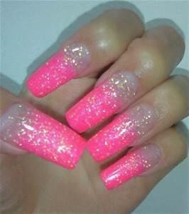 long pink glitter nails