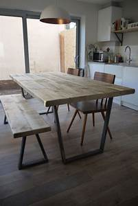 25 best ideas about dining table bench on pinterest With vintage industrial dining room table