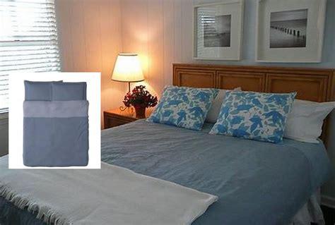 Ikea Malou Blue Duvet Cover Pillowcases Set King Yarn Dyed