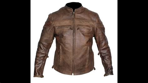 Mens Retro Brown Top Grain Buffalo Hide Cafe Leather Racer