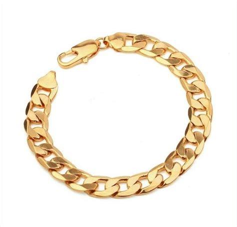 bk yellow gold filled chain bracelet men