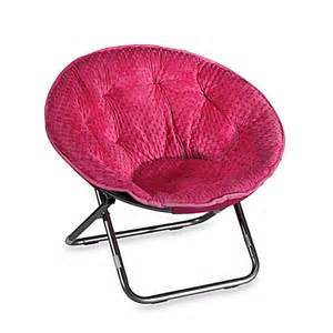buy dotted plush saucer chair pink from bed bath beyond