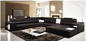 polaris large sectional sofa in black leather With sectional sofa for large room