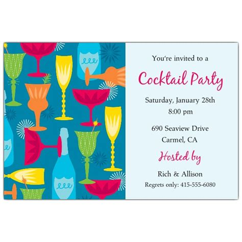 Cocktail Party Blue Invitations Paperstyle