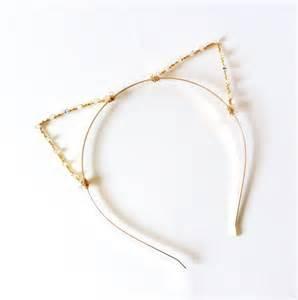 cat ear headbands cat ears headband gold kitten ears with swarovski