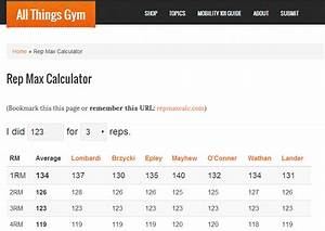 1 Rep Max Chart Rep Max Calculator All Things Gym