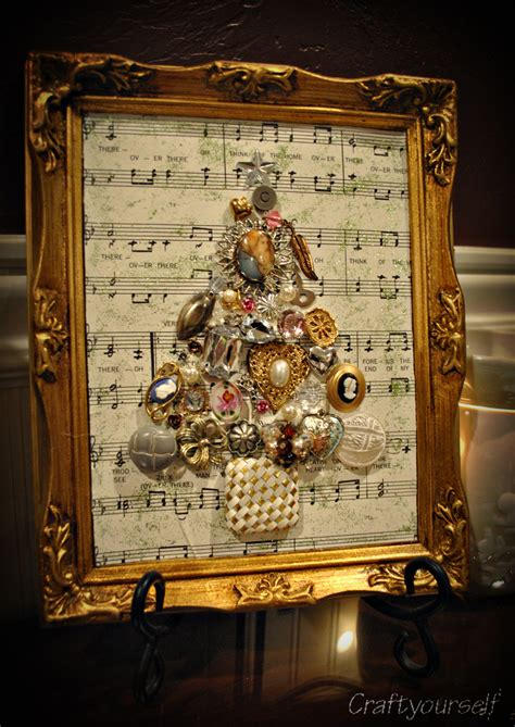 how to make a framed vintage christmas tree craft
