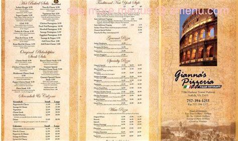 menu  giannas pizzeria italian ristorante