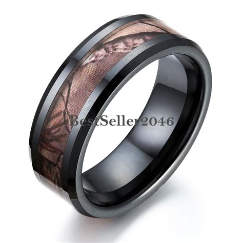 black ceramic mens hunting camo camouflage ring comfort