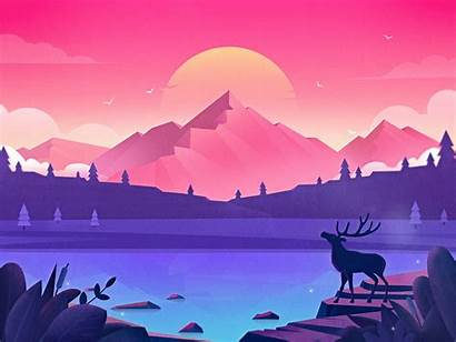 Lake Illustration Forest Dribbble Vector Landscape Mountain