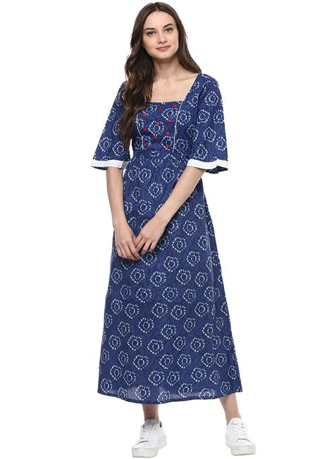 Cotton Dress Baby Blue buy blue cotton dress printed dresses and gown