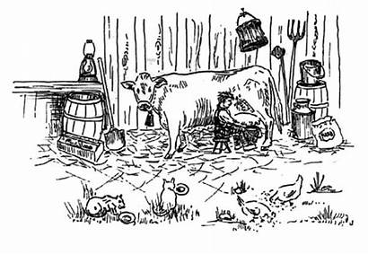 Coloring Pages Farmer Drawing Cow Milking