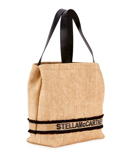 stella mccartney monogram woven raffia tote bag