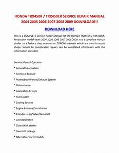 Honda Trx450r Trx450er Service Repair Manual 2004 2005