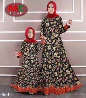 baju gamis couple ibu mama  anak motif batik modern