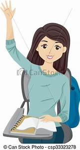 Teen girl raise hand class answer. Illustration of a ...