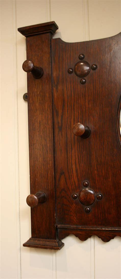 antique coat rack edwardian solid oak coat rack with a central mirro