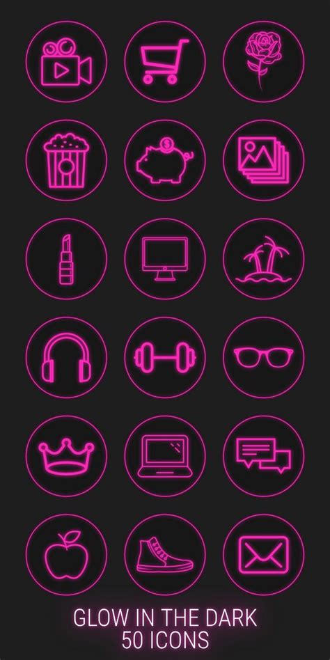 neon highlight icons pink neon instagram story
